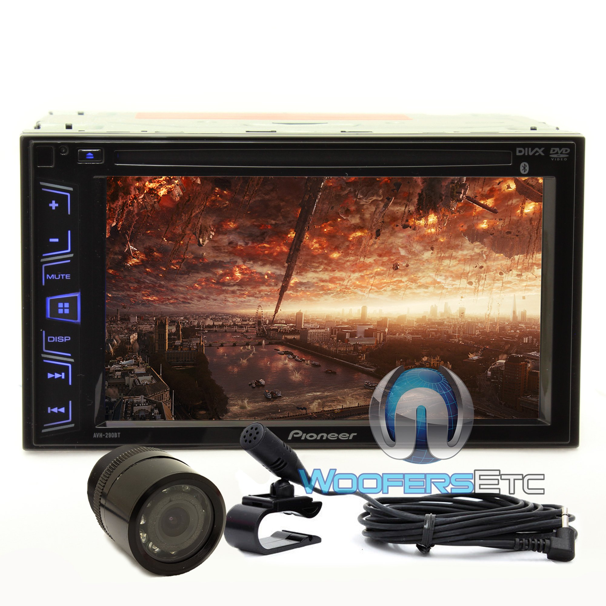 Pkg Pioneer AVH-290BT In-Dash 2-DIN 6.2'' Touchscreen DVD/MP3 Car Stereo Receiver with Bluetooth and iPod/iPhone Control + XO Vision HTC35 Waterproof Backup Camera with Nightvision by Pioneer