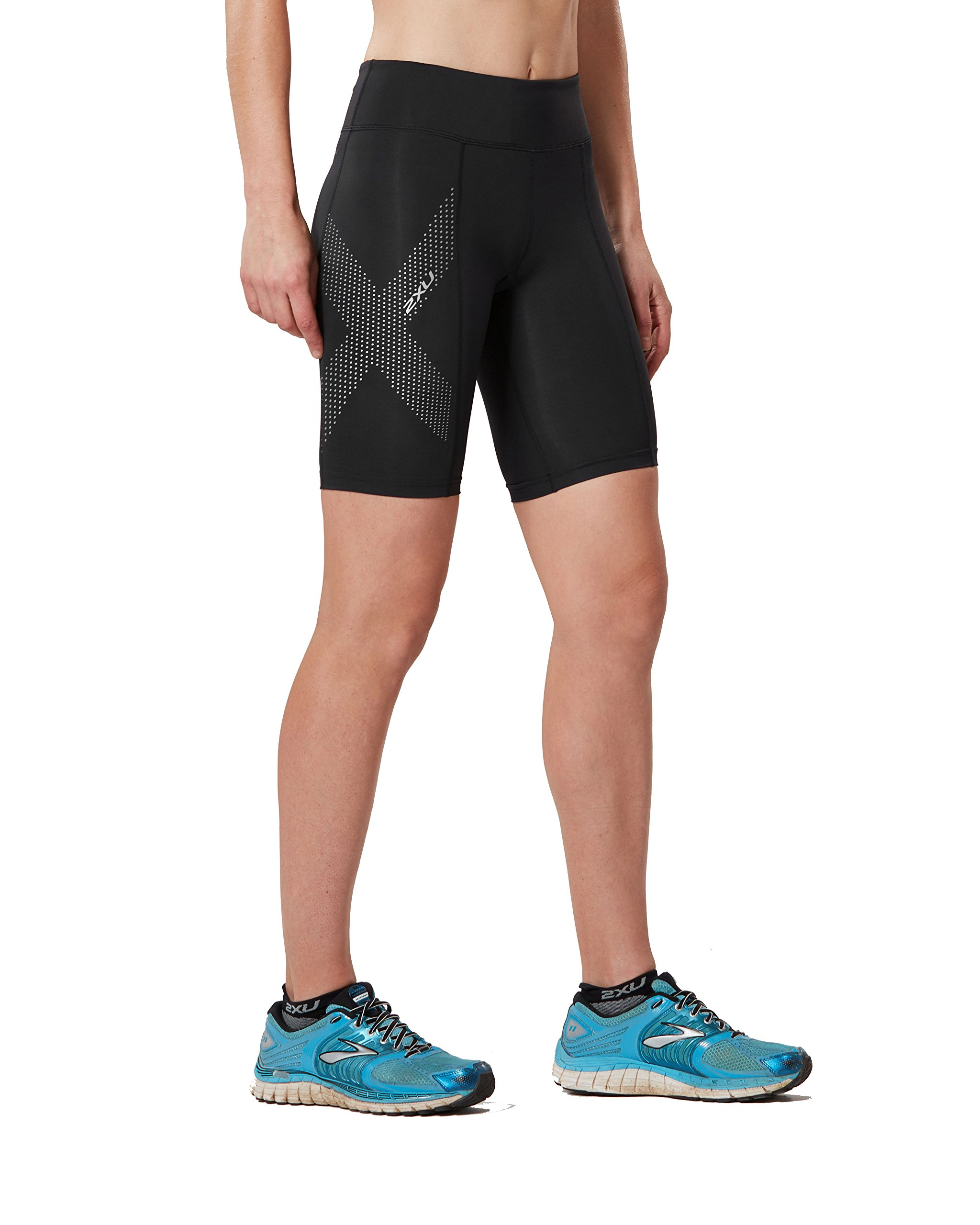 2XU Women's Mid-Rise Compression Shorts, Black/Dotted Reflective Logo, Small by 2XU (Image #1)