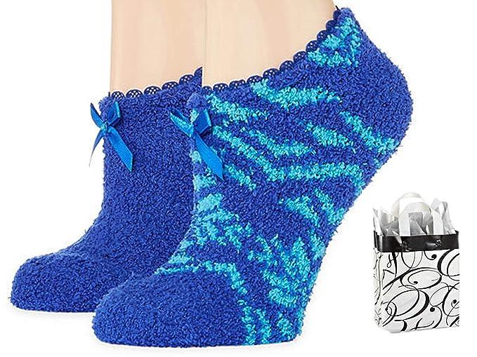 5d409ac38e957 Mixit Womens Slipper Socks 2 Pair   Bag Multi-Pack Gift Set (Blue Blue  Teal) at Amazon Women s Clothing store