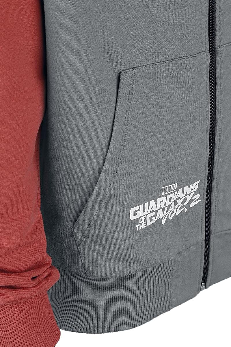 Amazon.com: Guardians Of The Galaxy 2 - Star Lord Hooded zip grey-red Large: Clothing