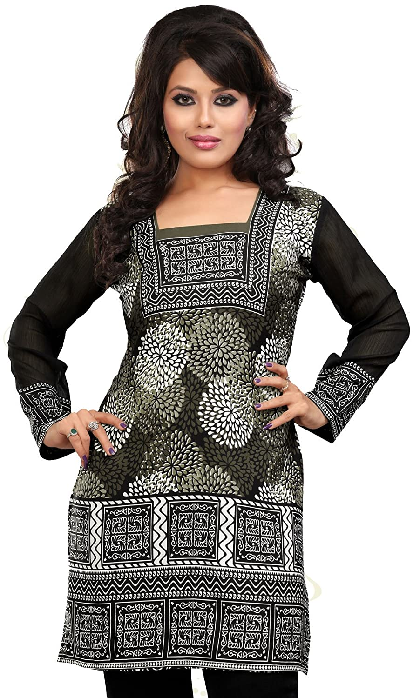 Amazon.com: Indian Tunic Top Womens Long Kurti Blouse India ...