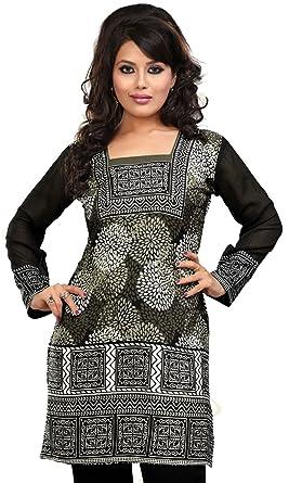 Frauen indischen Tuniken Kurti Top Bedruckte Indien Bekleidung (Grau, XXXL)