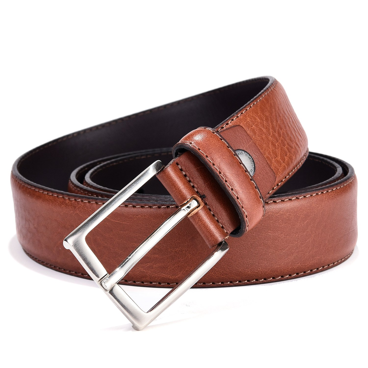 Genuine Leather Belt for Men - Mens Full Grain Italian Leather Dress Belt Brown 35mm 36