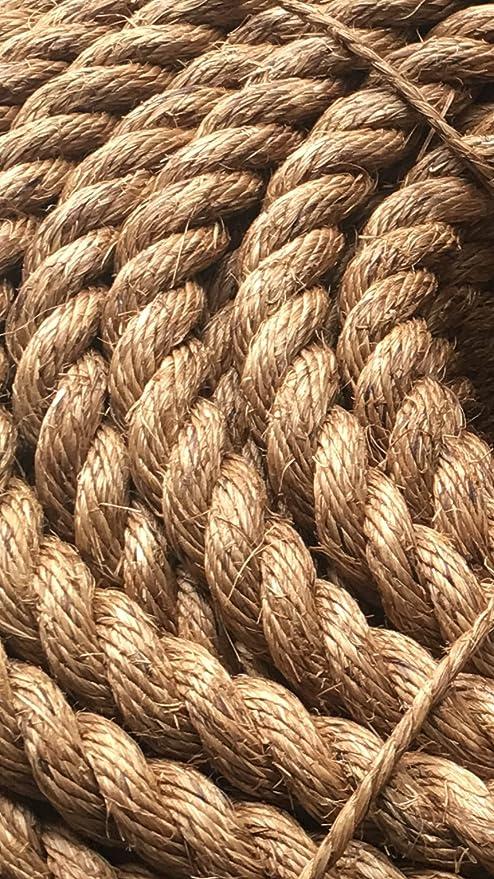 100% natural Manila Decking cuerda jardín cuerda pared cuerda cuerda 36 mm de diámetro 10 metros: Amazon.es: Jardín