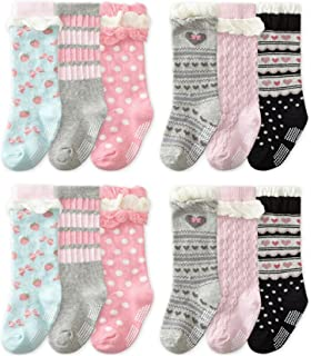 b7a4a12af QandSweet 6 Pairs Baby Girl Knee-High Socks Toddler Princess Cute Non-skid  Socks