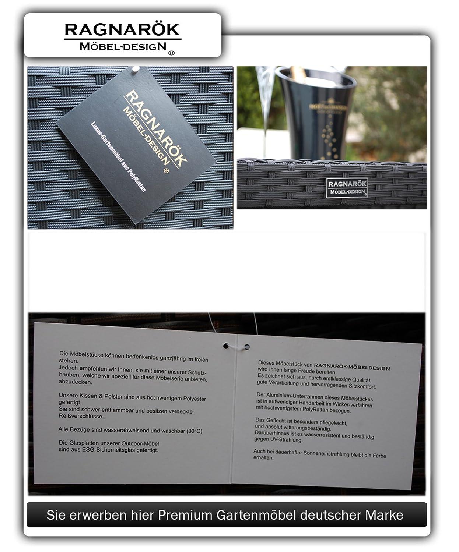 PolyRattan Essgruppe    DEUTSCHE MARKE    EIGNENE PRODUKTION Tisch + 6  Stuhl U0026 4 Hocker Garten Möbel Incl. Glas Und Sitzkissen  Ragnarök Möbeldesign ...
