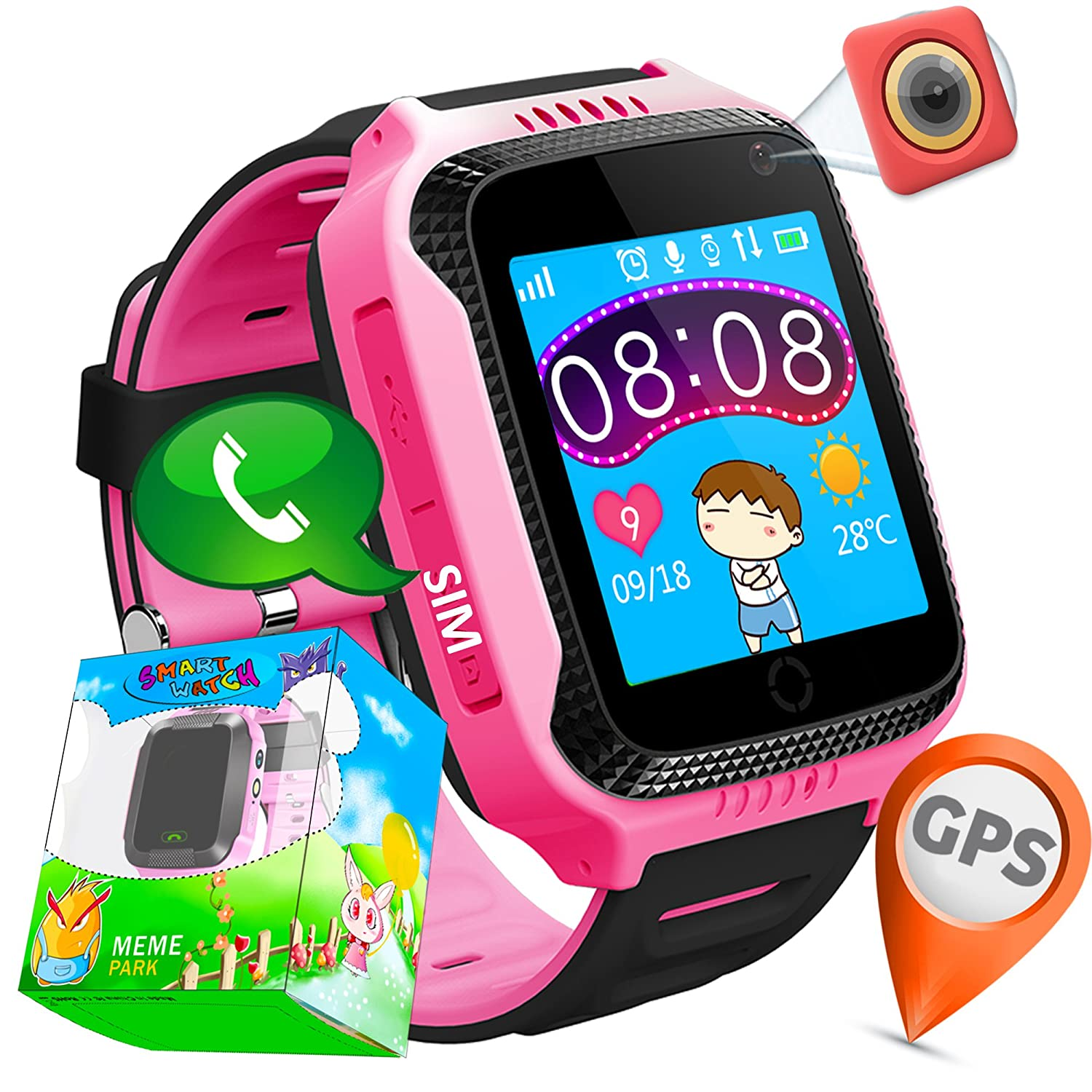 "TURNMEON 1.44""GPS Tracker Smart Watch Phone for Kids with SIM Solt Pedometer SOS Camera Smart Bracelet Smartwatch Boys Girls Children Halloween Cybery Monday Holiday Fitness Tracker Toy (PinkBlack)"