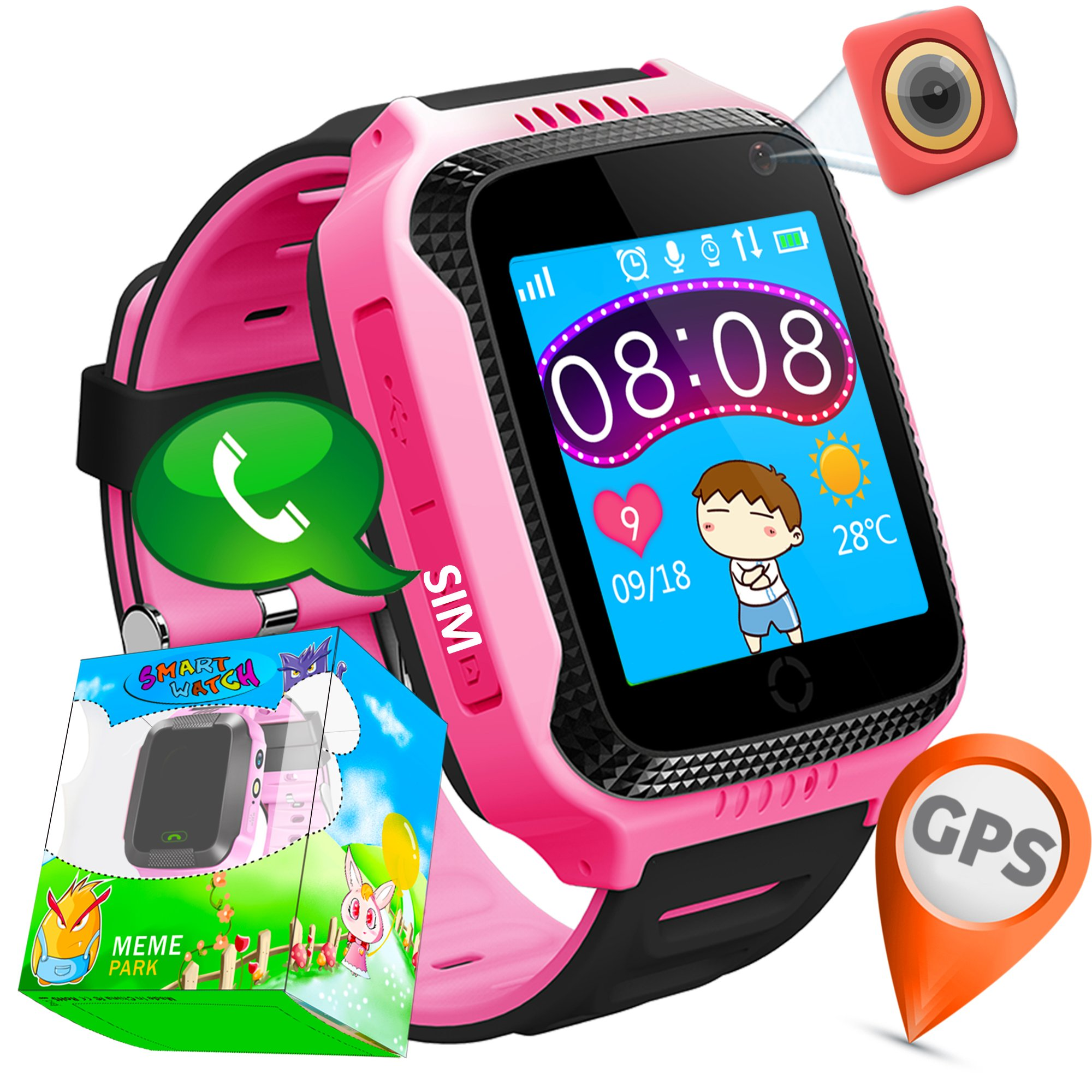 GPS Tracker for Kids-TURNMEON 1.44'' Smart Watch Phone for Kids Boys Girls with SIM Solt Pedometer SOS Camera Bracelet Stop Watch Travel Camping Summer Vacation Toys Birthday Gifts (Pink)