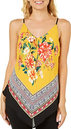 04aab45b433c Amazon.com  A. Byer Juniors Floral Border Print Tank Top  Clothing