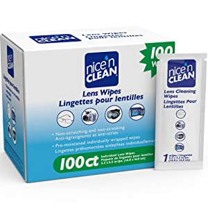 Nice 'n Clean Lens Cleaning Wipes (100 Total Wipes)   Pre-Moistened Individually Wrapped Wipes   Non-Scratching & Non-Streaking   Safe for Eyeglasses, Goggles, Camera Lens