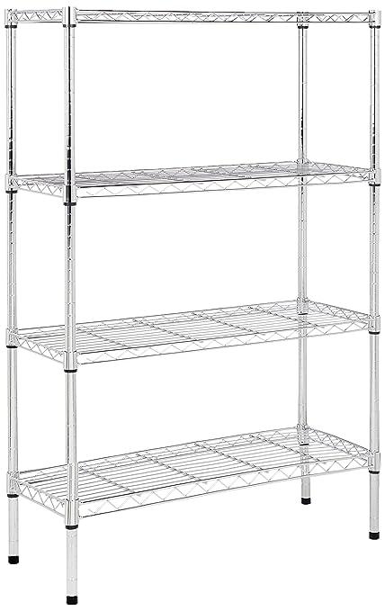 online retailer abe0d 87dfa AmazonBasics 4-Tier Wire Storage Shelves Rack, Chrome