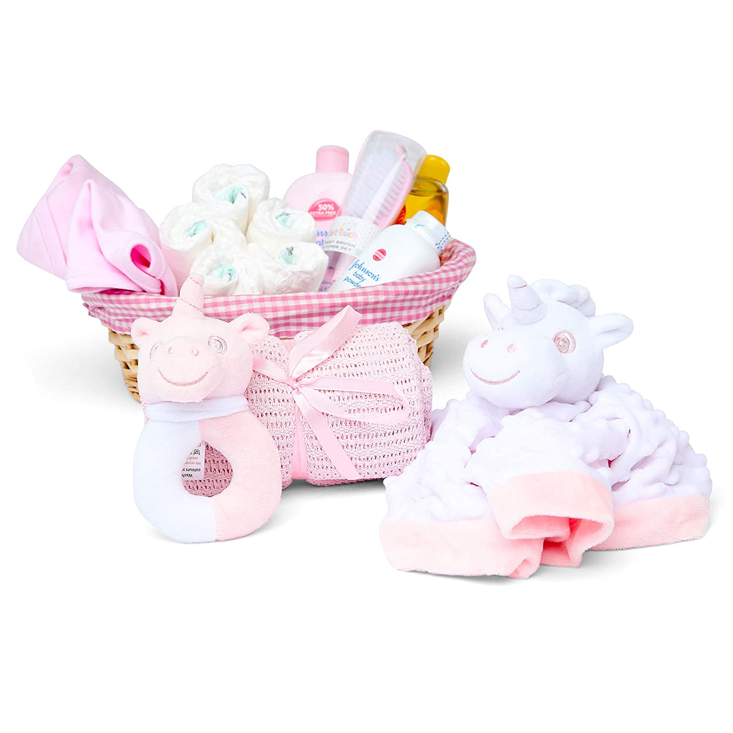 Baby Blanket Pink Unicorn Comforter and Rattle Baby Girl Hamper Basket with Baby Clothes Baby Box Shop Newborn Essentials