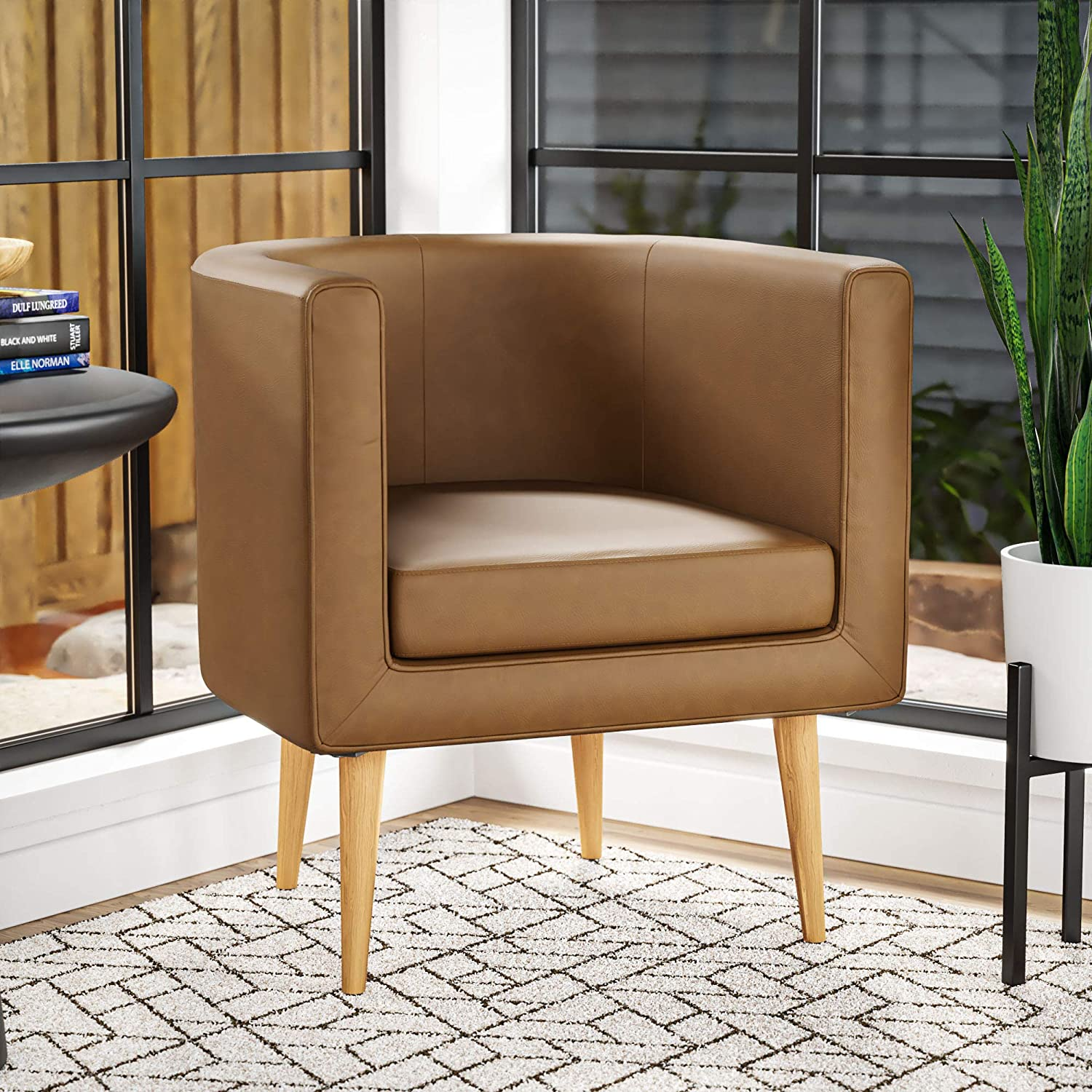 Edenbrook Combe Barrel Chair with Tapered Wood Legs – Upholstered Tub chair for Living Room, Camel Faux Leather