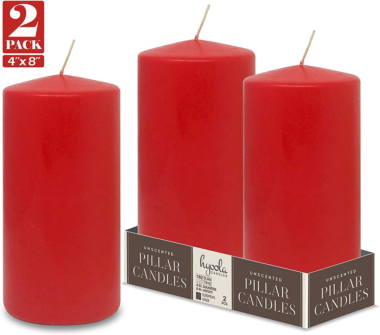 Hyoola Lot de 2 Bougies Pilier Non parfum/ées Rouge 10,2 x 20,3 cm
