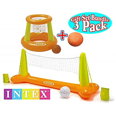 "Intex Floating Pool Volleyball Game & Floating Hoops Basketball Game with Exclusive Matty's Toy Stop 4.25"" Vinyl Basketball Gift Set Bundle - 3 Pack - Colors May Vary: Toys & Games"