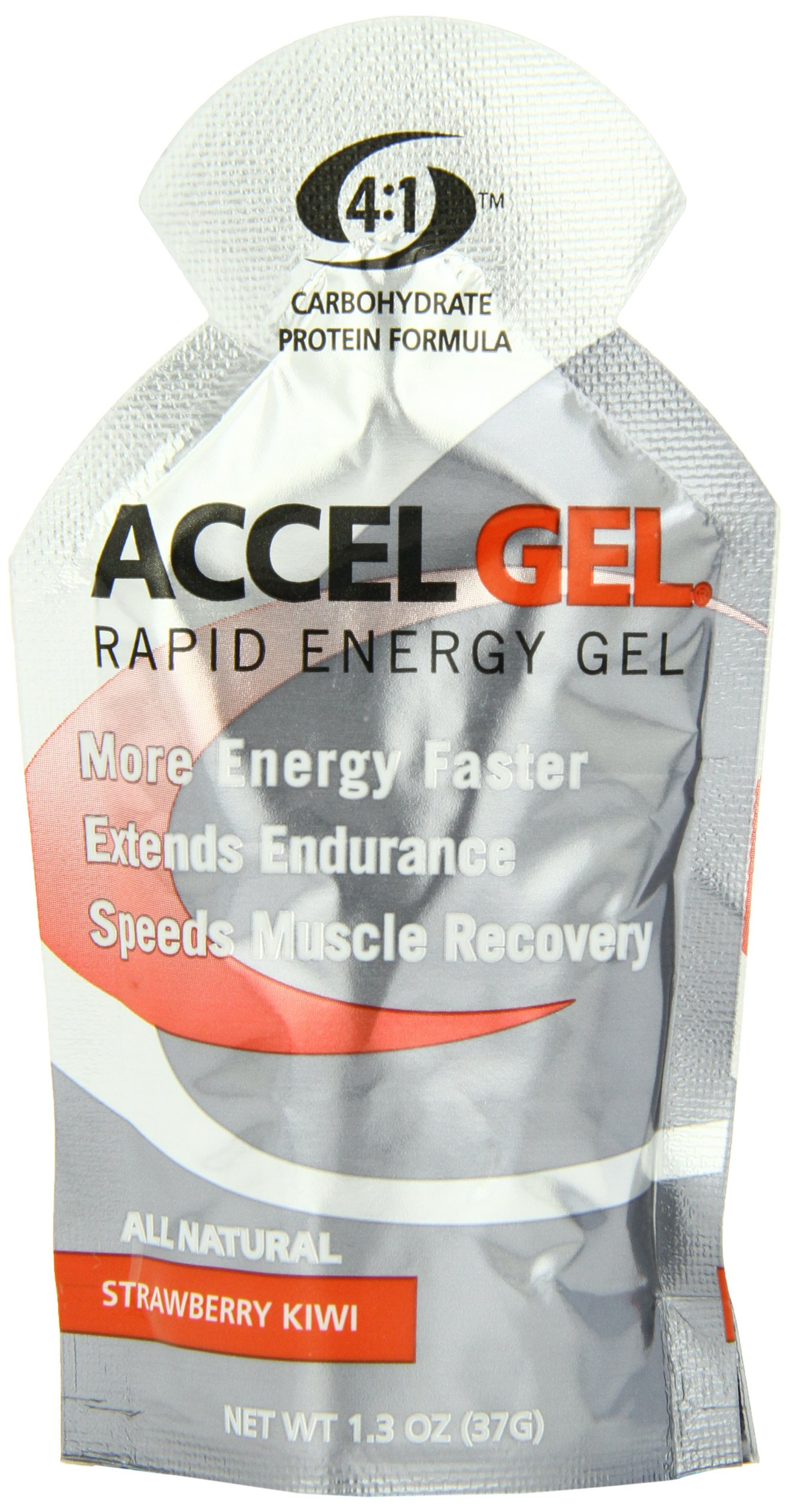 PacificHealth Accel Gel, All Natural Protein-Powered Rapid Energy Gel for Instant Energy During Intense Workouts - Box of 24, 1.3 Ounce Packets (Strawberry Kiwi)