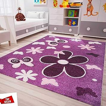 Vimoda Tapis pour Chambre d\'enfant Moderne en Violet, Rose et Fleurs,  Motifs Papillons et Contours découpés, certifié 80 x 150 cm