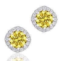 18k Gold Plated Cubic Zirconia Cushion Shape Halo Stud Earrings (1.90 carats)
