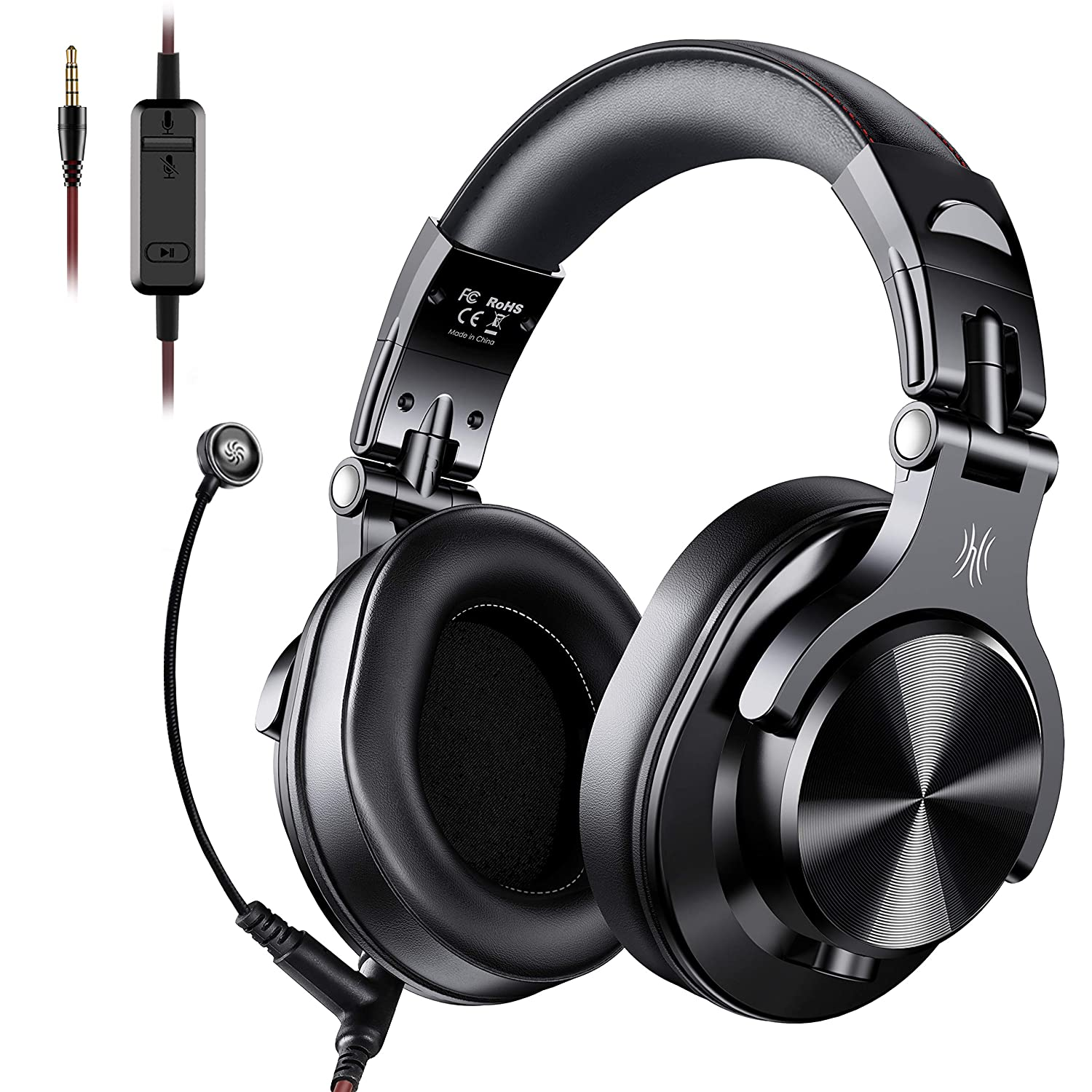 OneOdio A71 Over Ear Gaming Headsets - PS4 Xbox One Nintendo Switch PC Wired Stereo Headsets with Boom Mic and On-Line Volume & Share-Port Studio Headphones for Office Phone Call DJ