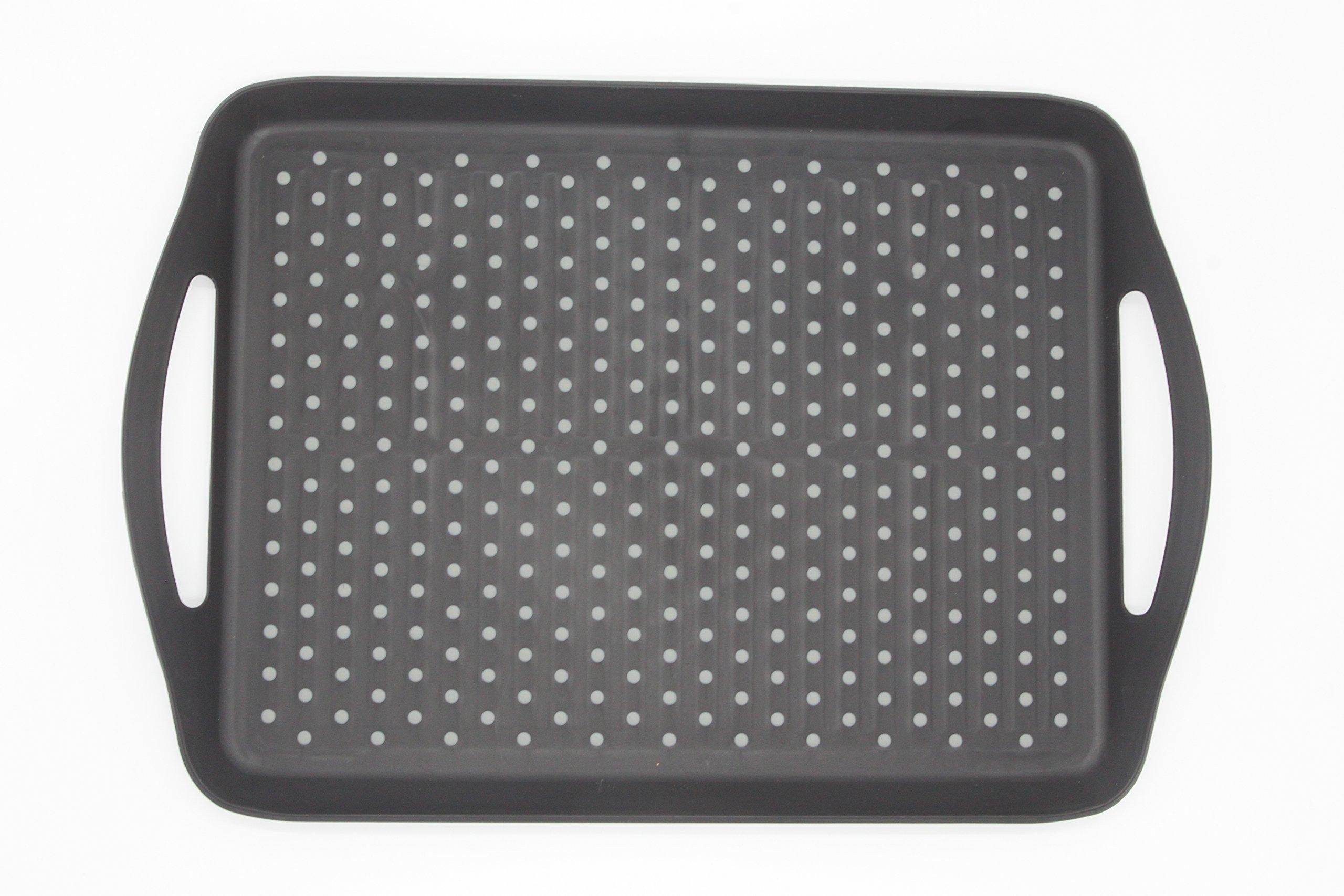 ChopMaster Rectangular Anti Slip Serving Tray with Handle (large, Black)