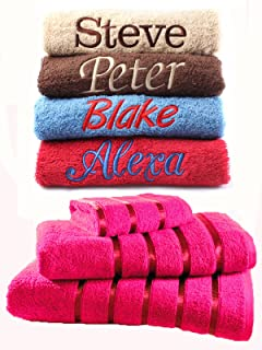 New EMBROIDERED PERSONALISED NAME BATH TOWEL Gift Set ANY NAME Combet Cotton