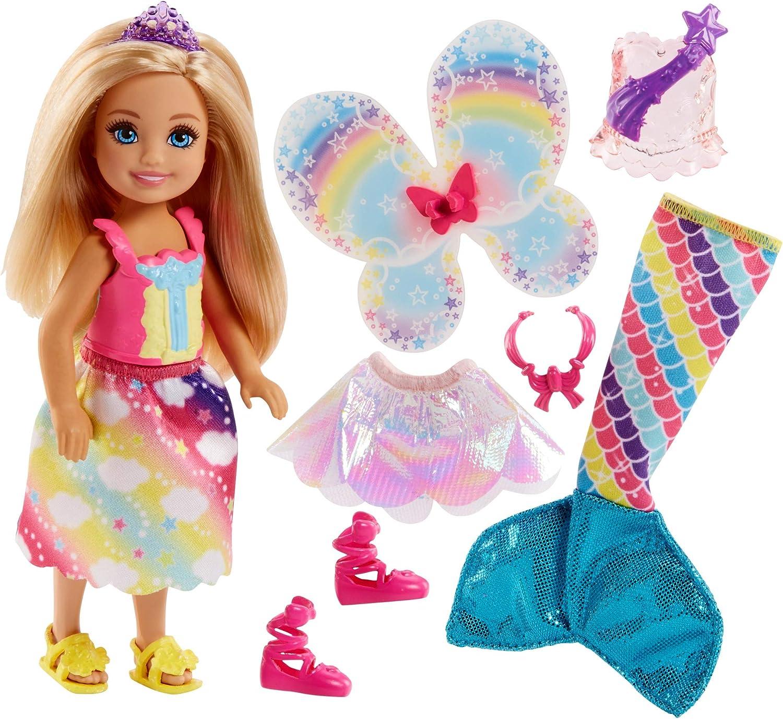 Barbie Dreamtopia, muñeca rubia Chelsea sirena, juguete +3 años (Mattel FJD00)