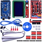 Kuman Upgraded 3D Printer Controller Kit For Arduino electronic projects robot kits With Mega 2560 R3 +RAMPS 1.4 + A4988 Stepper Motor Driver+ LCD 12864 K17