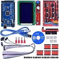 Kuman Kits d'imprimantes 3D Controller RAMPS 1.4 + Mega 2560 R3 + 5 pièces pilote A4988 moteur pas à pas avec dissipateur + LCD 12864 intelligent K17
