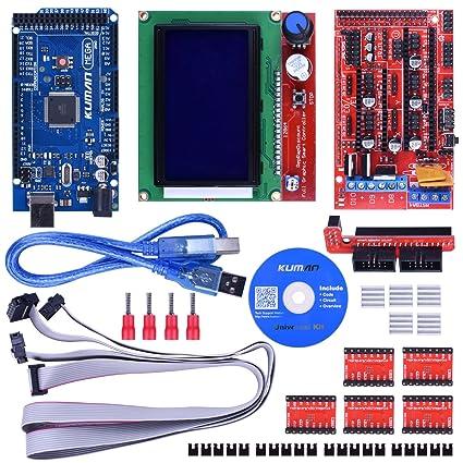 Kuman 3D Controlador de Impresora Kit para Starter Kit de Mega 2560 R3 Arduino +RAMPAS 1,4 + + 5 piezas Conductor del Motor de Pasos A4988 + LCD 12864 para Arduino RepRap K17 Versión actualizada