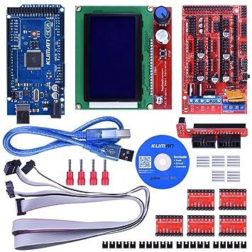 kuman 3D Controlador de Impresora Kit para Starter Kit de Mega 2560 R3 Arduino +RAMPAS 1,4 + + 5 piezas Conductor del Motor de Pasos A4988 + LCD 12864 ...