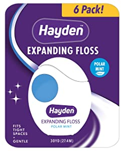 Hayden Clean+ Dental Floss | 6 pack | Polar Mint with Anti Tartar Actives for Gentle Care | 30 yards per unit