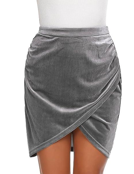 944ba9f02 Zeagoo Women's Sexy Velvet High Waist Ruched Wrap Bodycon Mini Skirt ...
