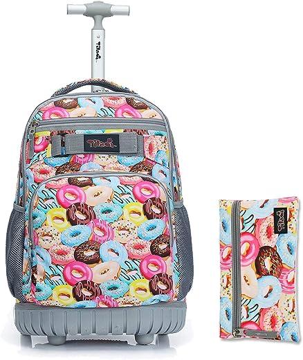 حقيبة ظهر Tilami بعجلات 18 بوصة مع حقيبة أقلام محمولة بعجلات