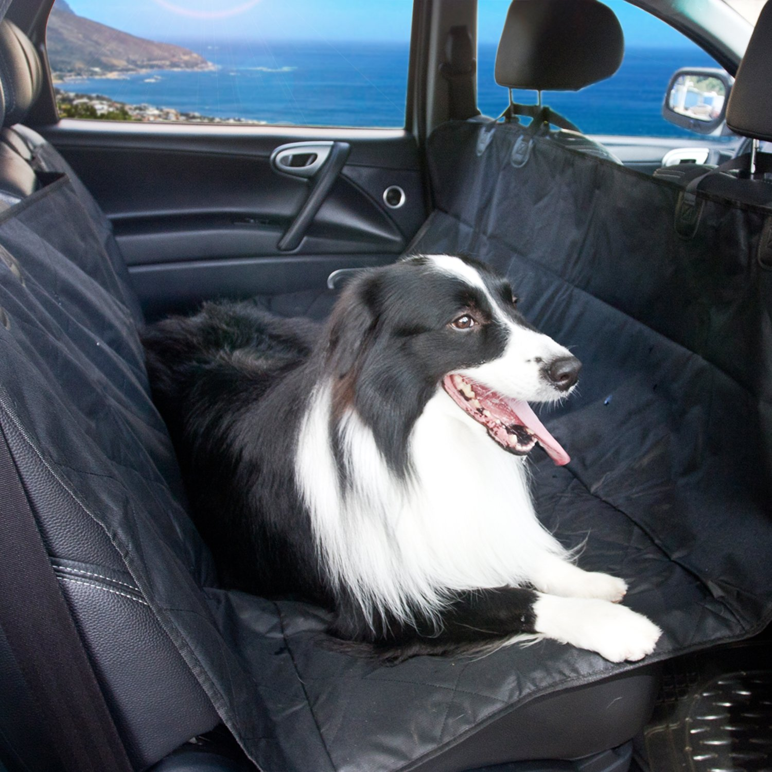 MairGwall 55×55 Waterproof Pet Seat Cover Dog Car Seat Cover with Non Slip Backing + Anchors General Use for All Cars(Large Black)