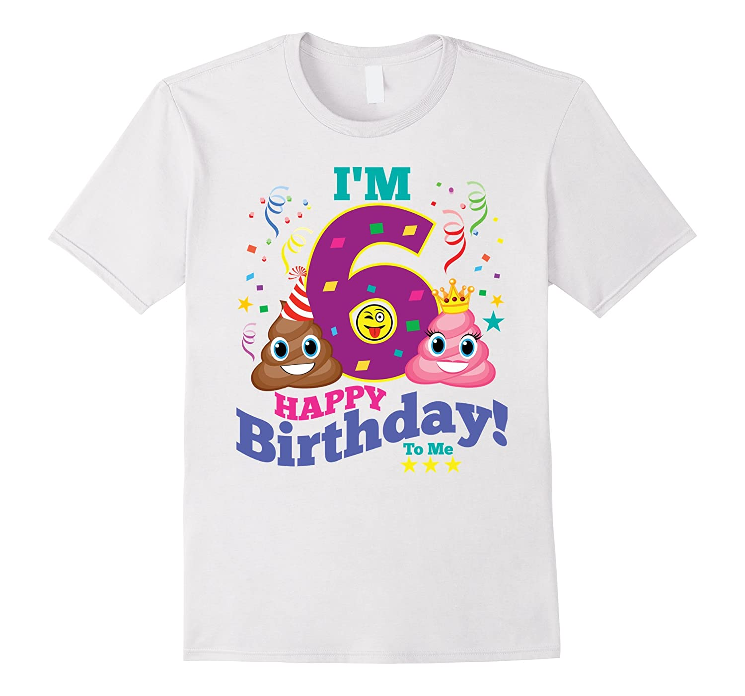 Poop Emoji Happy 6th Birthday Shirt
