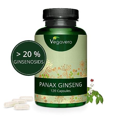 Ginseng Rojo Coreano PURO Vegavero® | LA DOSIS MÁS ALTA: 4800 mg | 20% Ginsenósidos | 120 Cápsulas | Energía + Afrodisíaco + Estimulante + ...