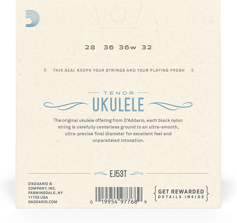 Tenor Ukulele//Hawaiian D/'Addario EJ53T Pro-Arté Rectified Ukulele Strings