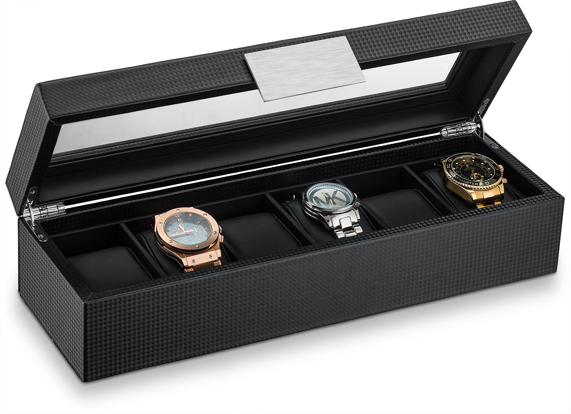 Glenor Co Watch Box Men - 6 Slot Luxury Carbon Fiber Design Mens Display Case, Large Holder,Metal Buckle -Black