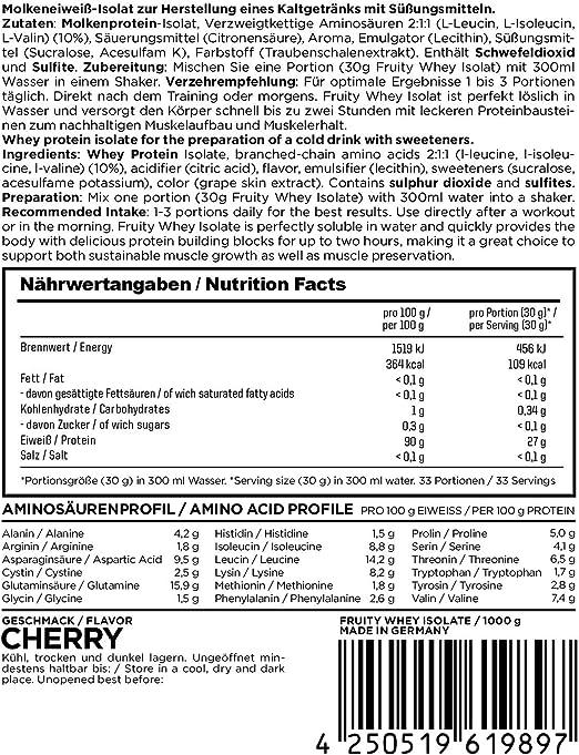 Esn Fruity Whey Isolate Cherry - 1000 gr