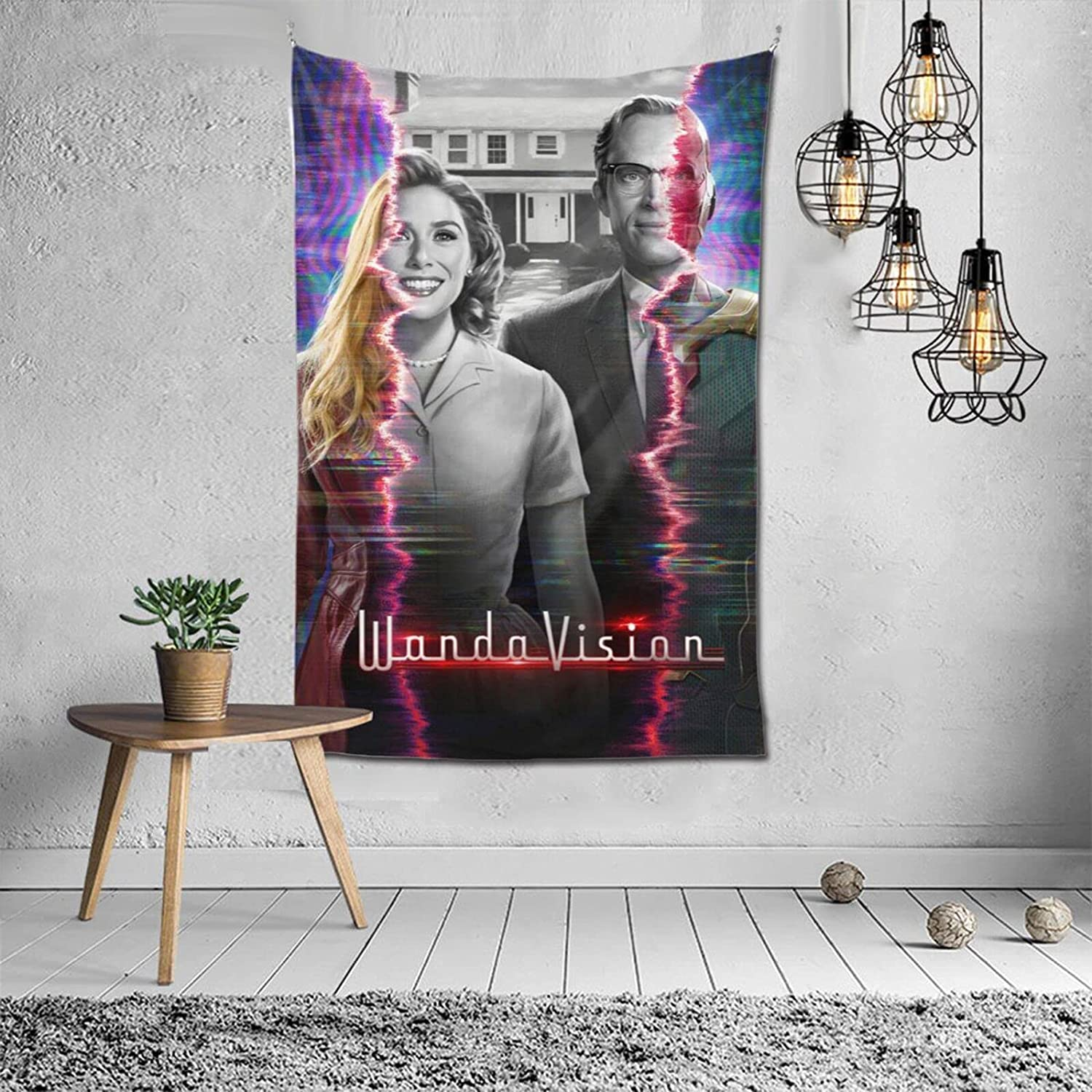 ZGQIMEI Wan-da-Visi-on Wall Tapestry Durable Wall Hanging,Room Decor Movies Modern Style Cozy Decor Tabletop Buffet Sofa Cover for Living Room 40