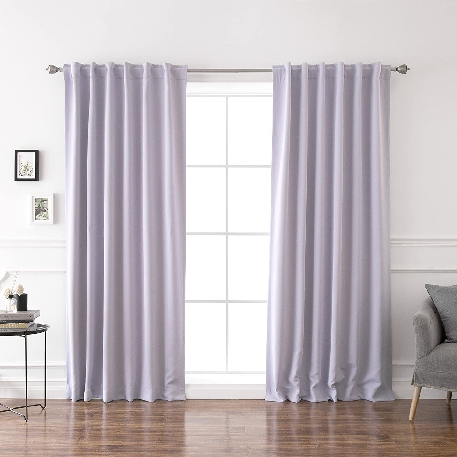 "Best Home Fashion Thermal Insulated Blackout Curtains - Back Tab/Rod Pocket - 52"" W x 84"" L - Lilac (Set of 2 Panels)"