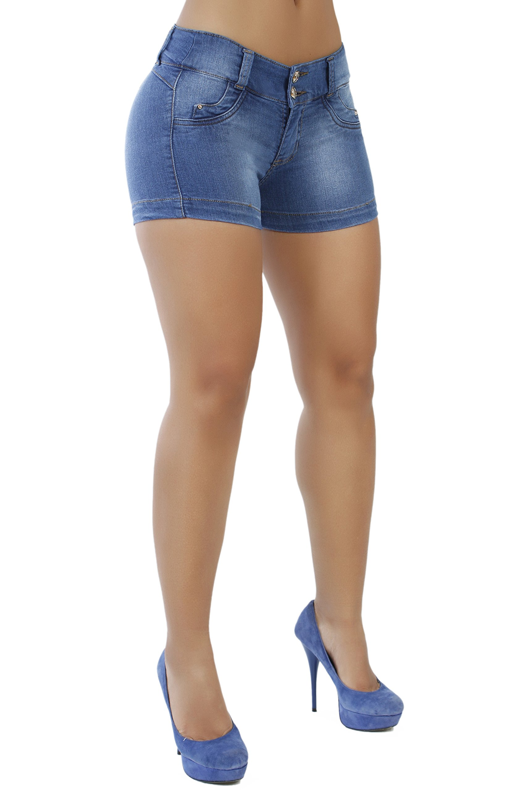 Curvify Butt Lift Stretch Sexy Jean Shorts For Women | Mid Rise Denim Shorts Levantacola 764 (Shorts FW 7)