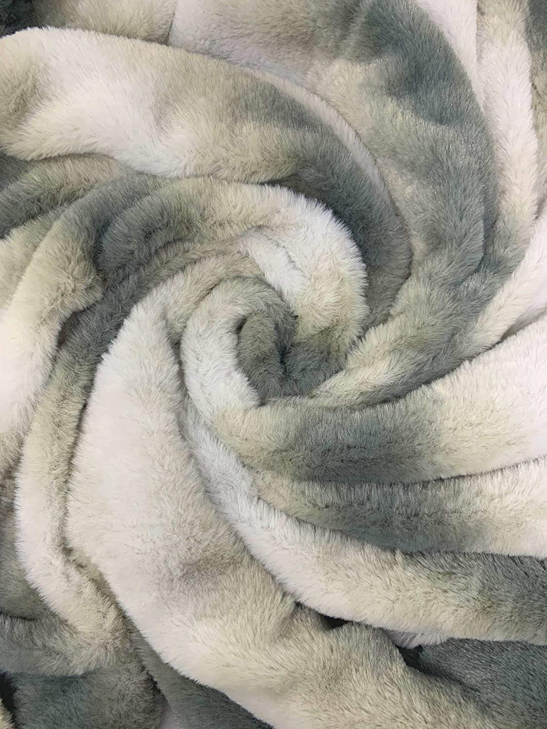 ST.TEIL Faux Fur Double Sided Extra Soft Throw Blanket White Grey