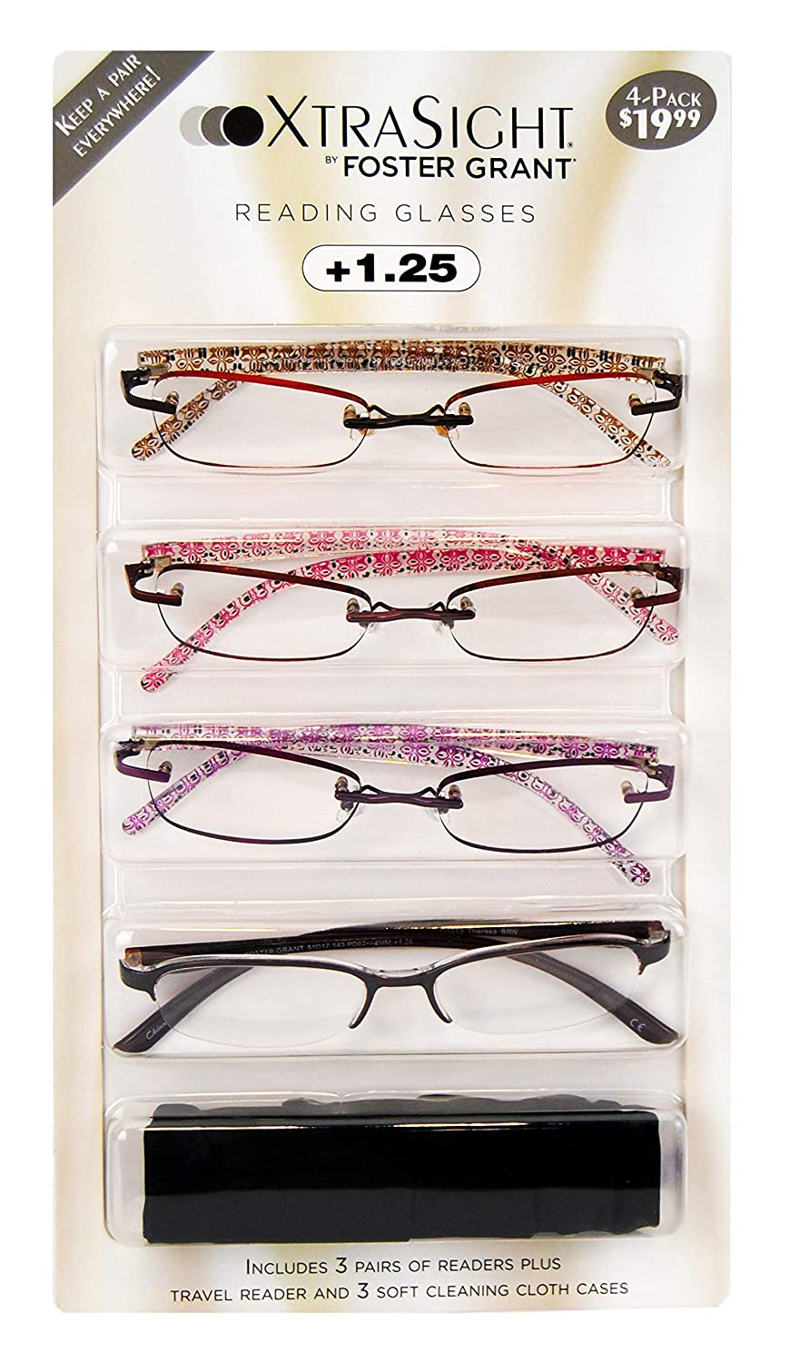 98371cc80df Amazon.com   4 Pack Foster Grant Daniella Reading Glasses +2.00 with 3 Soft  Cloth Cases New   Beauty
