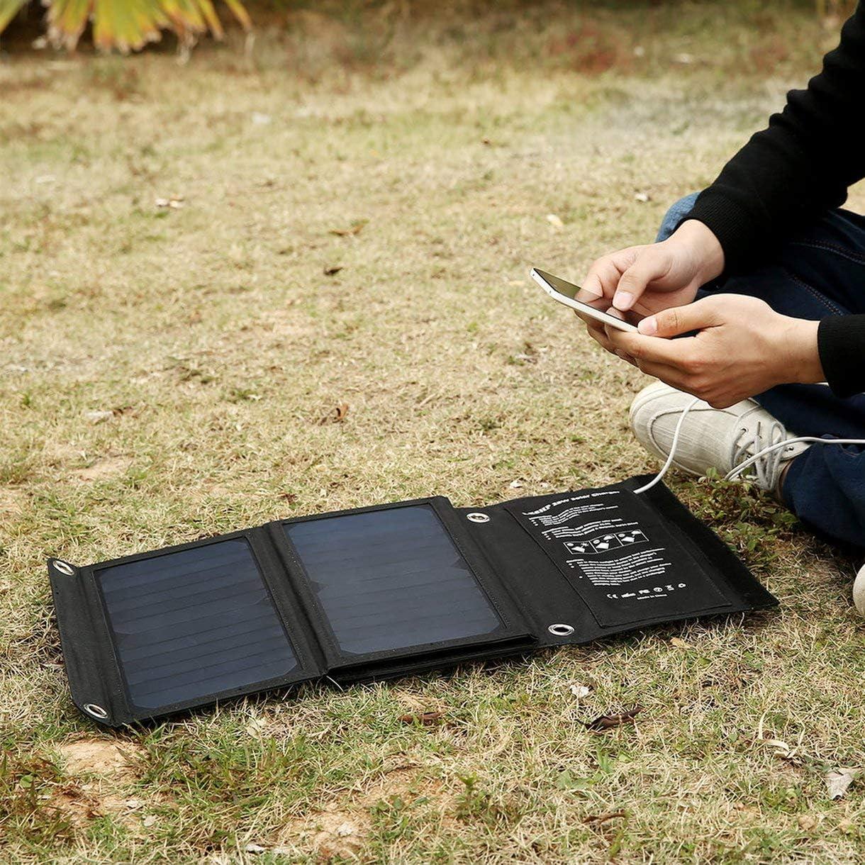 Leshp Outdoor Solar Powered Charger 28W 4.24A 5V Sac solaire pliable pliable avec 4 panneaux Double ports USB pour tablettes PC Couleur: Noir