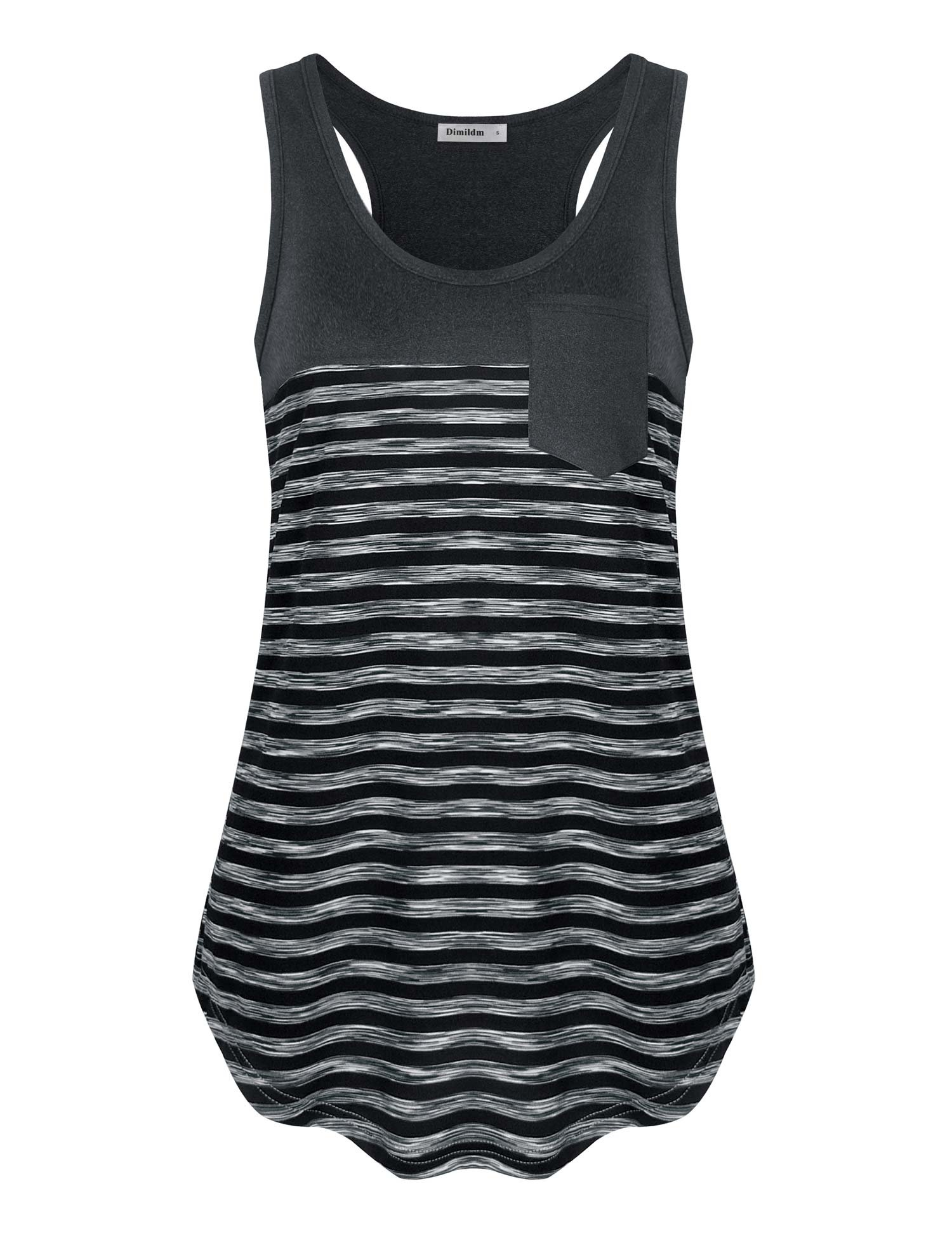 Dimildm Tank Tops for Leggings, Business Casual Tank Tops for Women Sleeveless Flared Hem Flattering Striped Running Exercise Racerback Loose Fiting T Shirts (Carbon Grey,XL)