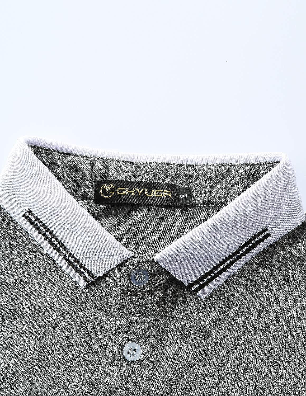 GHYUGR Polo Uomo Manica Corta Scollatura Cuciture a Contrasto Basic Poloshirt Camicie Tennis T-Shirts Tops