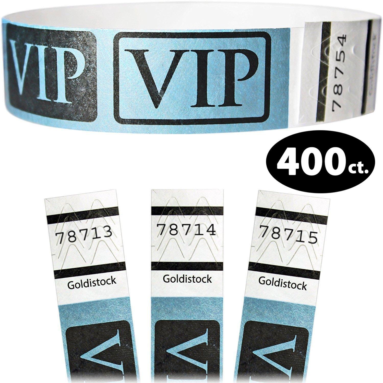 Goldistock 3/4'' Tyvek Wristbands VIP Deluxe - Metallic Blue 400 Count - Event Identification Bands (Paper - Like Texture)