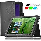 Odys Windesk 9 Plus 3G Tablet Schutz, IVSO hochwertiges PU Leder Etui hülle Tasche Case - mit Standfunktion, ist für Odys Windesk 9 Plus 3G V2 8,9 Zoll Tablet-PC perfekt geeignet, Schwarz