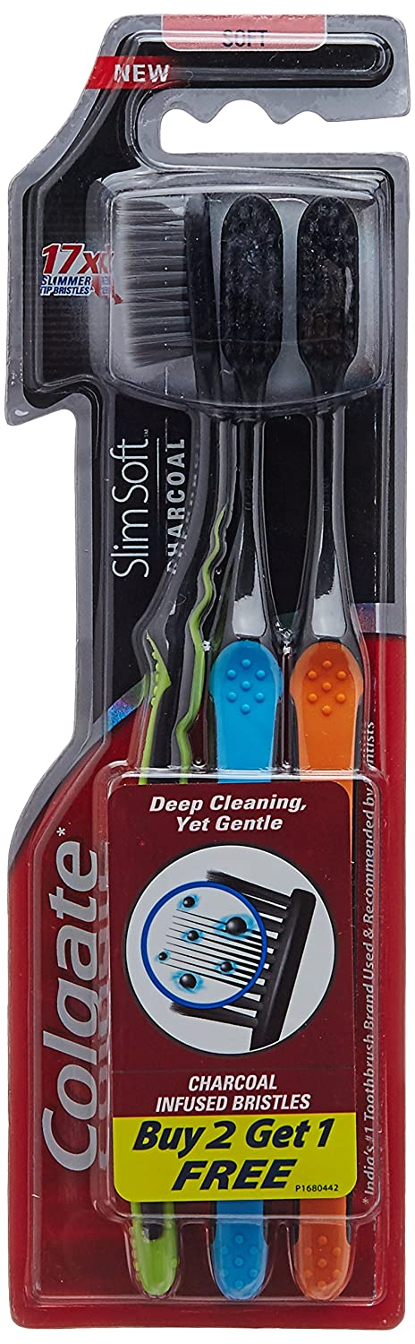 Colgate Slim Soft Charcoal Toothbrush (Pack of 3) GHU-IOP-JBF1246
